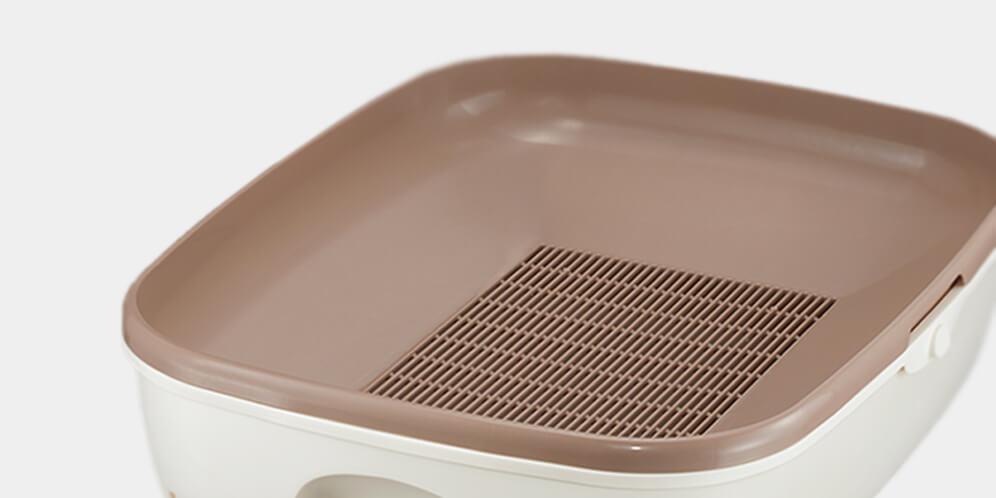 猫砂の使用量が軽減できる猫トイレの形状