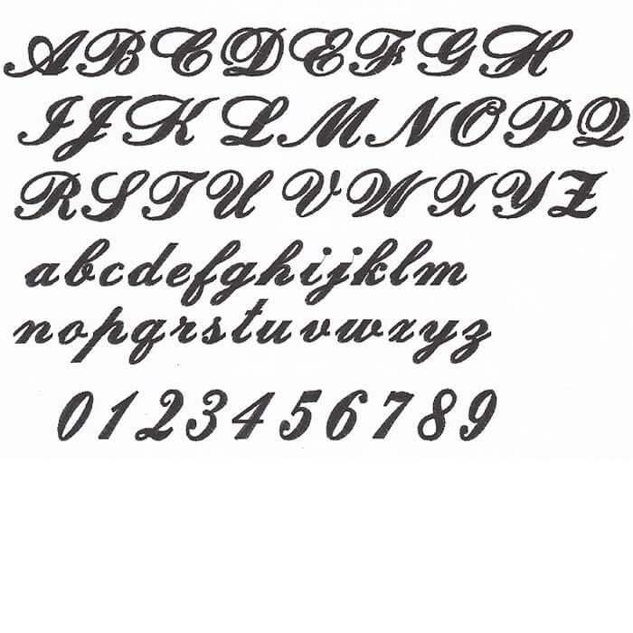 刺繍の書体:筆記体
