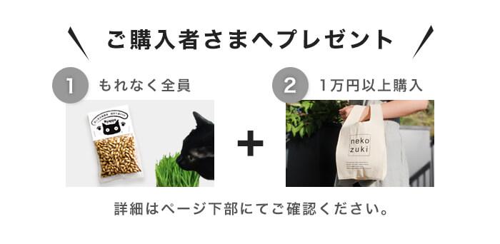 購入特典1:もれなく全員へ「猫草のタネ」 購入特典2:1万円以上でマルシェバッグ