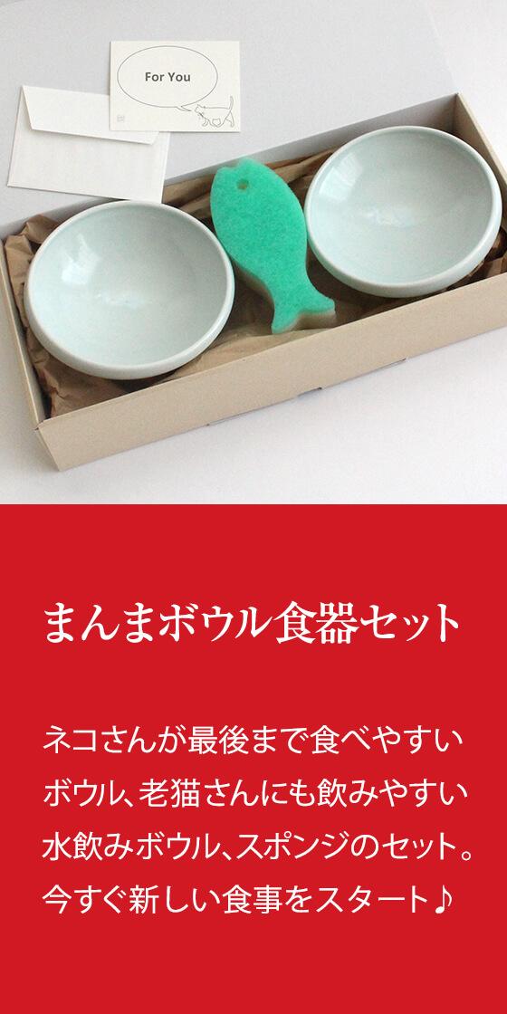 猫の日食器セット:猫さんが最後まで食べやすい食器、老猫さんにも飲みやすい水飲みの器、スポンジのセット。今すぐ新しい食事をスタート♪